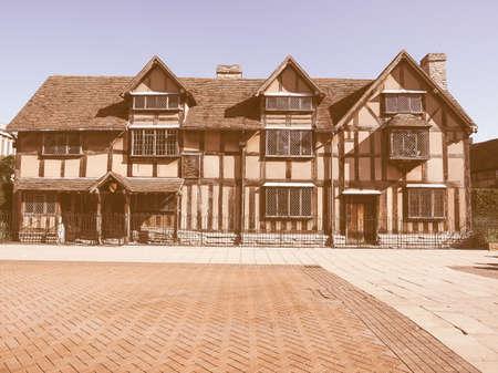 stratford upon avon: William Shakespeare birthplace in Stratford Upon Avon, UK vintage Editorial