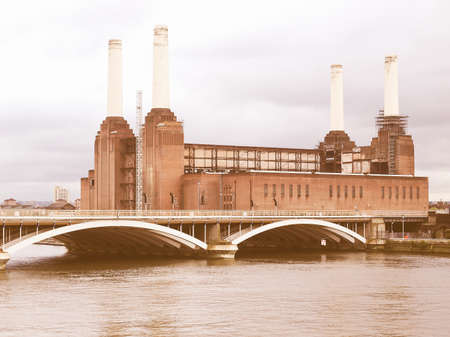 powerstation: Battersea Power Station in London, England, UK vintage