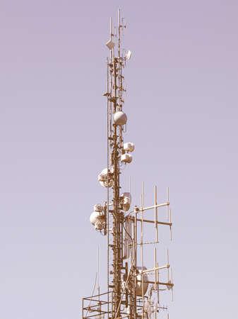 communication tower: Communication tower radio mast with antenna aerial vintage Stock Photo