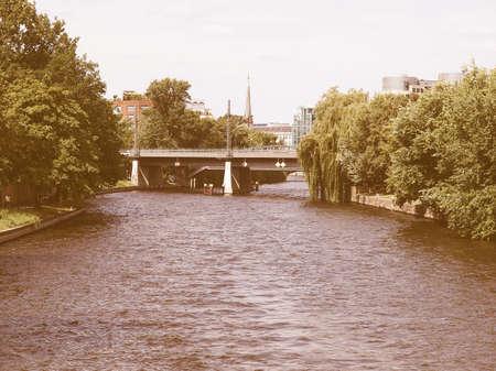 spree: View of river Spree in Berlin, Germany vintage