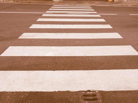 crossroad: Zebra crossing sign at pedestrian crossroad vintage Foto de archivo