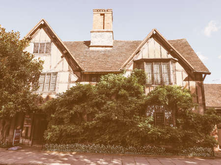 home birth: STRATFORD UPON AVON, UK - SEPTEMBER 26, 2015: William Shakespeare birthplace vintage