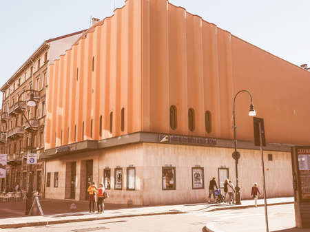 massimo: TURIN, ITALY - OCTOBER 22, 2014: The Cinema Massimo is the main movie theatre of the Museo Nazionale del Cinema meaning National Museum of Cinema vintage