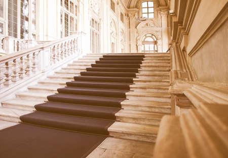 castello: Baroque interior of Palazzo Madama, Piazza Castello, Turin (Torino) vintage