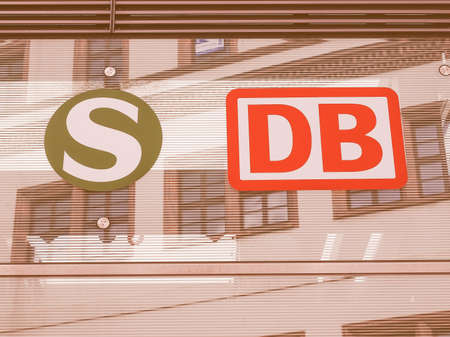 db: DRESDEN, GERMANY - JUNE 14, 2014: S Bahn subway and DB Bahn national railway signs on a station entrance vintage