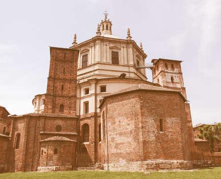 lorenzo: Basilica of San Lorenzo alle Colonne in Milan, Italy vintage