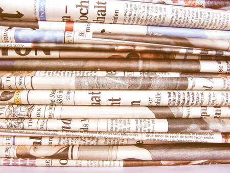 pile of newspapers: A pile stack of many world newspapers vintage