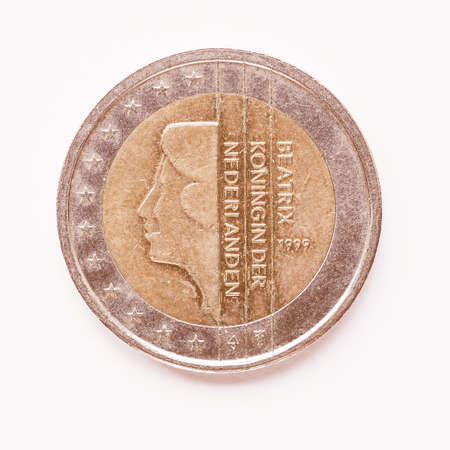 Currency of Europe, 2 Euro coin from Netherlands vintage