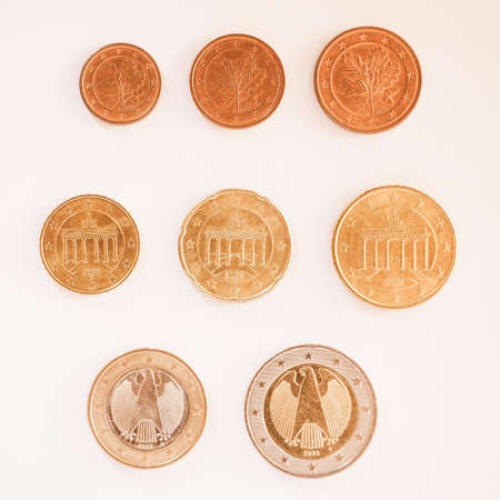 euro coins: Full series of Euro coins currency of the European Union isolated over white vintage