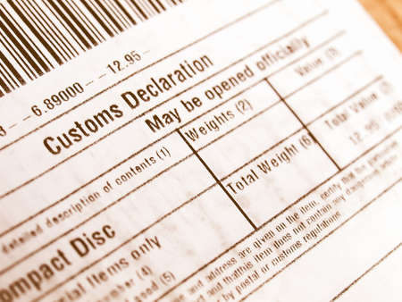 Customs declaration on a foreign packet parcel vintage
