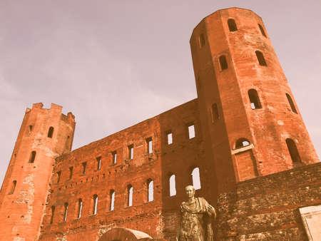 torri: Torri Palatine ancient Roman gates in Turin Italy vintage