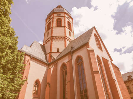 MAINZ: St Stephan church in Mainz in Germany vintage