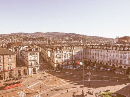 piedmont: View of the town of Turin in Piedmont Italy vintage