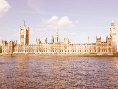 gothic architecture: Houses of Parliament, Westminster Palace, London gothic architecture vintage Stock Photo