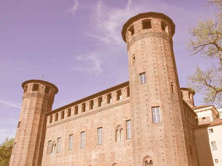 castello: Palazzo Madama (Royal palace) in Piazza Castello Turin Italy vintage
