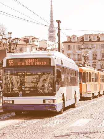 tramway: A bus and tramway in Piazza Castello, Turin, Italy vintage