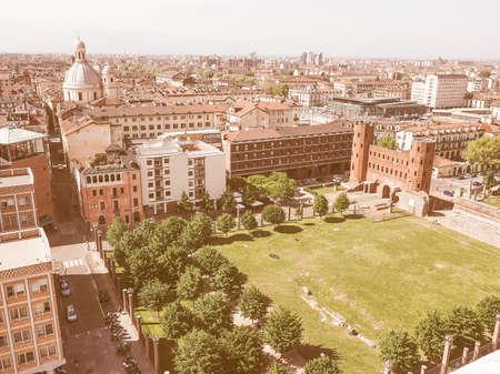 palatine: Aerial view of Palatine towers aka Porte Palatine, ruins of ancient roman town gates in Turin vintage Stock Photo