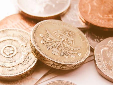 Detail of British Pound GBP coins money vintage