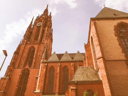 roemerberg: Frankfurter Dom Cathedral in Roemerberg Frankfurt am Main Germany vintage