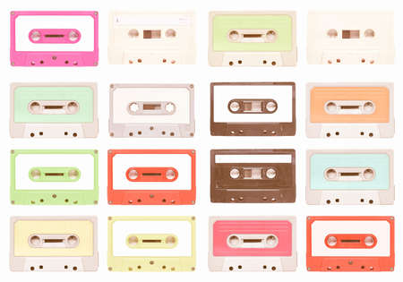 stereo cut: Set of magnetic tape cassette for audio music recording - isolated over white background vintage Stock Photo