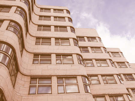 modernist: BERLIN, GERMANY - MAY 09, 2014: The Shell Haus aka Gasag building is a classical modernist architectural masterpiece designed by Emil Fahrenkamp in 1932 vintage