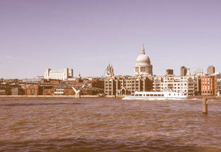 river thames: LONDON, UK - SEPTEMBER 28, 2015: Panoramic view of River Thames vintage Editorial