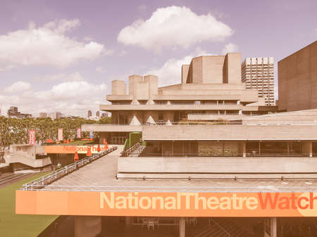 16 year old: LONDON, ENGLAND, UK - JUNE 16, 2011: The Royal National Theatre iconic masterpiece of the New Brutalism designed by architect Sir Denys Lasdun vintage Editorial