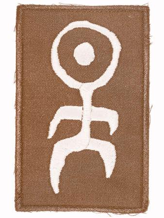 mensch: BERLIN, GERMANY - CIRCA AUGUST 2015: Logo of German industrial band Einstuerzende Neubauten on woven fabric tag for clothing vintage Editorial