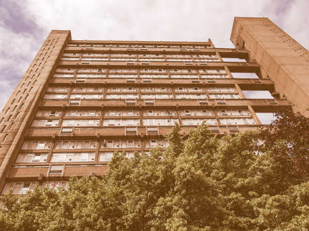 masterpiece: LONDON, ENGLAND, UK - JUNE 20, 2011: The Balfron Tower designed by Erno Goldfinger in 1963 is a Grade II listed masterpiece of new brutalist architecture vintage
