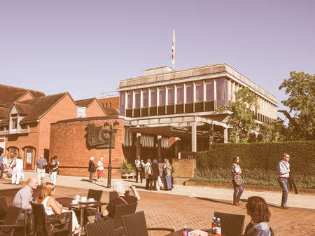 birthplace: STRATFORD UPON AVON, UK - SEPTEMBER 26, 2015: Shakespeare centre at William Shakespeare birthplace vintage