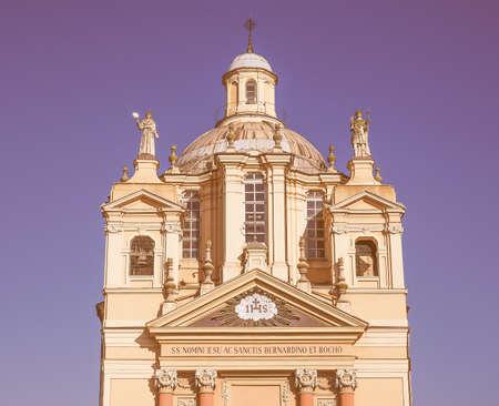 bernardino: Baroque church of San Bernardino meaning St Bernardine in Chieri Italy vintage Stock Photo