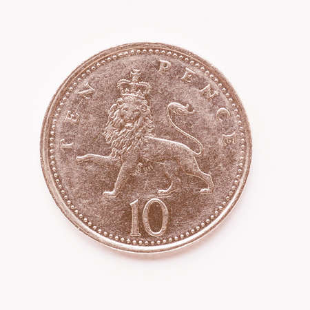 pence: Currency of the United Kingdom 10 pence coin vintage Stock Photo