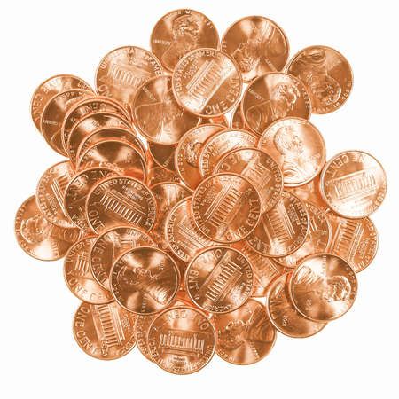 cent: Dollar coins 1 cent wheat penny cent currency of the United States isolated over white background vintage
