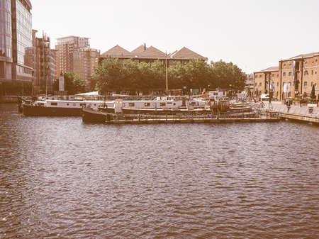 docklands: LONDON, UK - JUNE 11, 2015: West India Quay in Docklands vintage