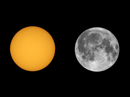 compared: The Sun with sunspots and Full Moon seen with telescope from planet Earth
