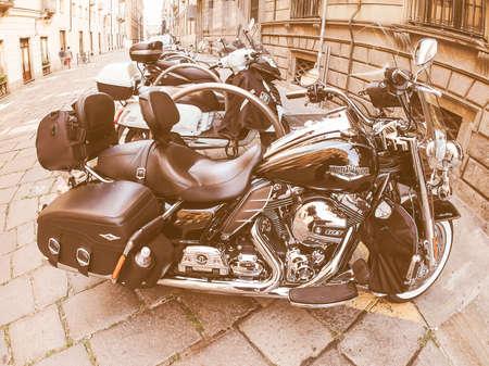 harley davidson: TURIN, ITALY - CIRCA SEPTEMBER, 2015: Harley Davidson model 103 motor bike seen with fisheye lens vintage