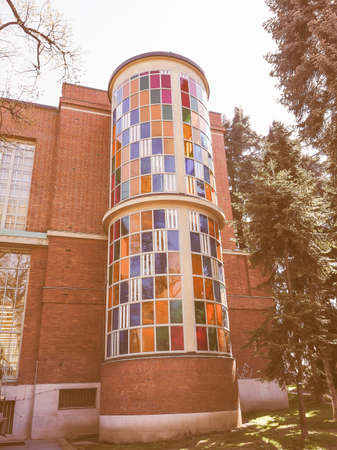 rationalism: MILAN, ITALY - MARCH 28, 2015: La Triennale exhibition hall designed by Giovanni Muzio is a masterpiece of Italian rationalism vintage