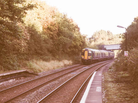 stratford: TANWORTH IN ARDEN, UK - SEPTEMBER 26, 2015: Wood End railway station on the Stratford upon Avon to Birmingham route known at the Shakespeare Line vintage