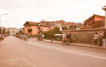 italia: SETTIMO TORINESE, ITALY - MAY 31, 2015: Riders at the last stage of Giro di Italia meaning Tour of Italy stage bycicle race vintage