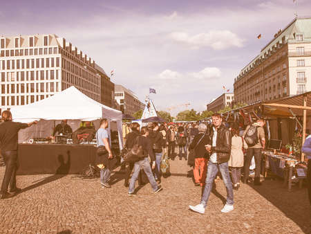 forthcoming: BERLIN, GERMANY - MAY 09, 2014: People at the Europafest at Brandenburg Gate for the forthcoming European elections vintage