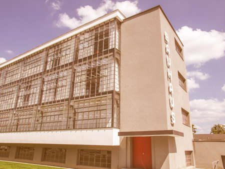 rationalist: DESSAU, GERMANY - AUGUST 6: The Bauhaus building masterpiece of modern architecture in the Unesco World Heritage List on August 6, 2009 in Dessau, Germany vintage Editorial
