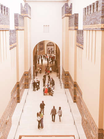 antiquities: BERLIN, GERMANY - CIRCA MAY, 2014: Tourists visiting the Pergamon Museum of antiquities vintage