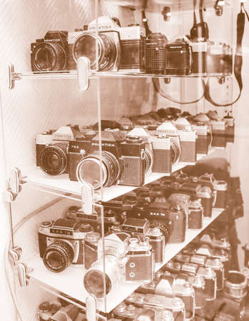 slr cameras: DRESDEN, GERMANY - JUNE 14, 2014: Many vintage models of Praktica and Exa SLR cameras built in the DDR German Democratic Republic in early to mid XX century vintage
