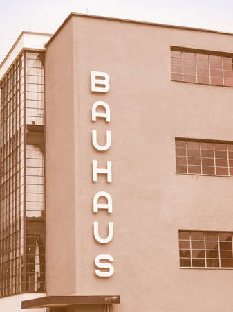 bauhaus: DESSAU, GERMANY - JUNE 13, 2014: The Bauhaus art school iconic building designed by architect Walter Gropius in 1925 is a listed masterpiece of modern architecture vintage