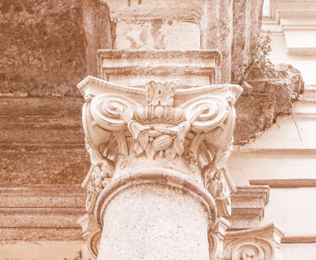 ionic: Detail of ancient capital of the Ionic order vintage Stock Photo