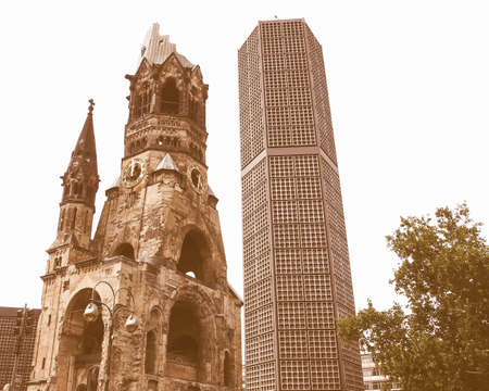 bombing: Ruins of Kaiser Wilhelm Memorial Church in Berlin, destroyed by Allied bombing and preserved as memorial vintage Stock Photo