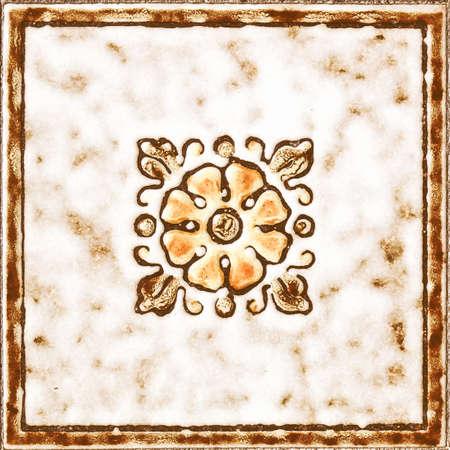 Detalle de los azulejos florales de la vendimia en una vendimia piso Foto de archivo