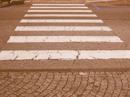 zebra crossing: Zebra crossing sign at pedestrian crossroad vintage Stock Photo