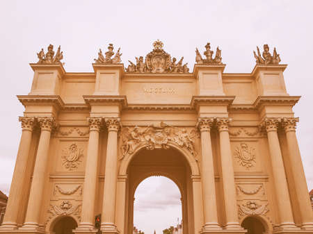 brandenburg gate: Brandenburger Tor Brandenburg Gate in Potsdam Berlin Germany vintage