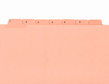 tabs: Office folder with numbered tabs isolated on white vintage